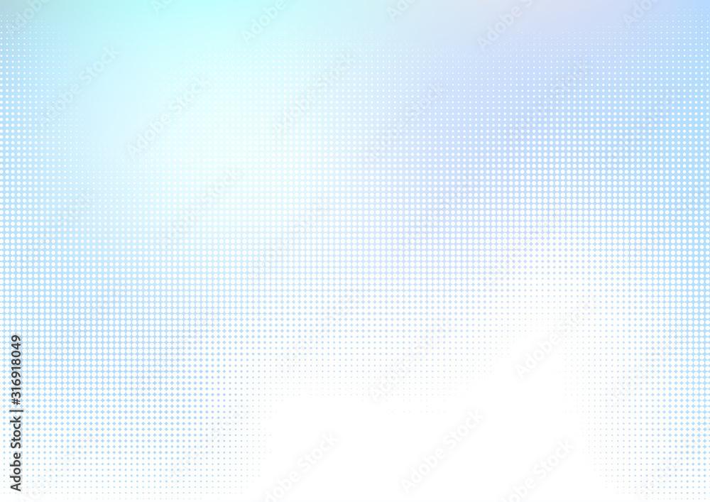 Fototapeta 青いドットのハーフトーングラデーションデジタル背景