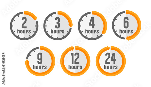 Timer, clock vector color icon illustration set ( hours ) Tablou Canvas