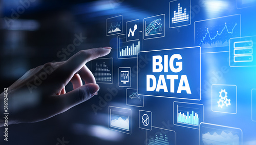 Cuadros en Lienzo  Big data analysis, business intelligence, technology solutions concept on virtual screen