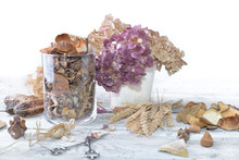 Bouquet Of Dry Flowers And Potpourri On A White Table
