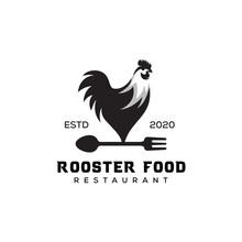 Vintage Rooster Food Logo. Sil...