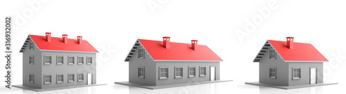 Fototapeta Houses miniature isolated against white background