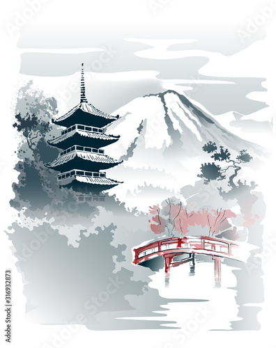 Okleiny na drzwi - Krajobraz - Pejzaż  mountain-temple-pagoda-and-red-bridge-under-the-mountain-vector-drawing-in-traditional-japanese