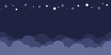 Seamless Border Of Dark Blue Night Sky. Flat Vector Illustration.
