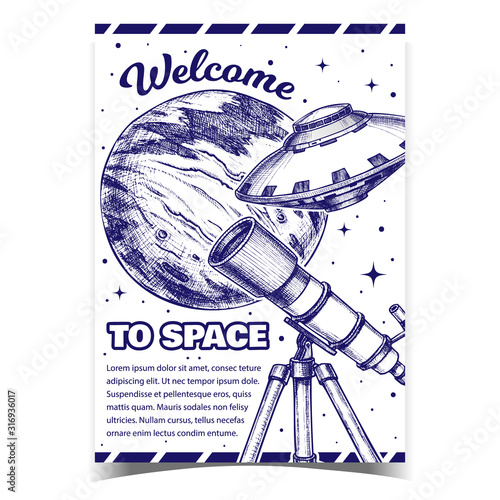 Photo Welcome To Space Cosmos Advertising Banner Vector