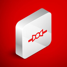 Isometric Line Bow Tie Icon Isolated On Red Background. Silver Square Button. Vector Illustration