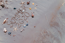 Summer 2020 Text On Sand Beach Shells And Starfish Around