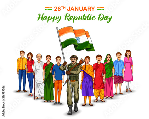 illustration of Indian Army soldier nation hero on Pride background for Happy Republic Day of India - 316939246
