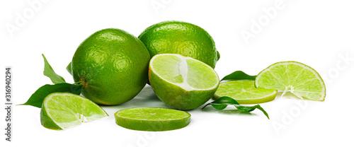 Obraz na plátne Chopped lime fruit isolated on white background
