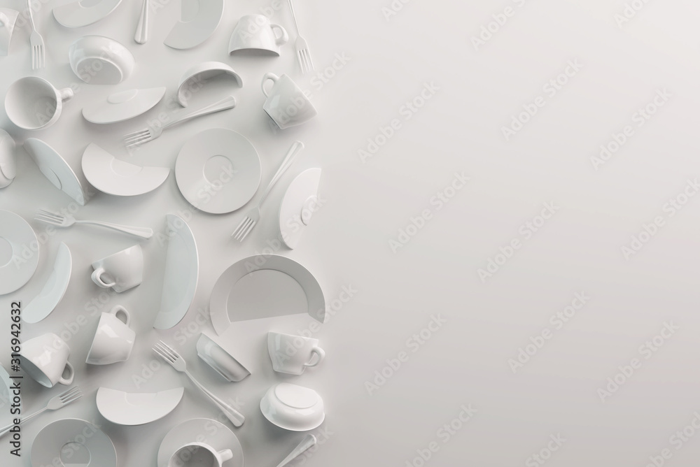 Fototapeta White Food background concept for design menu restaurant or cafe. Copy space for your logo. Food flyer. Ceramic Plates and Dishes. White coffee mugs and saucers on a white background. 3d render