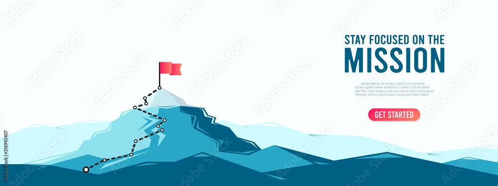 Fototapeta Flag on the mountain peak. Business concept of goal achievement or success. Flat style vector illustration