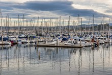 Sailing Boats On The Sea Near Old Fishermans Wharf Captured In Monterey, USA