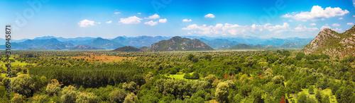 Fototapeta Aerial sunny morning view of valley of Moraca river from Zabljak Crnojevica Fortress obraz