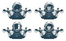 Astronaut With Blasters In His...