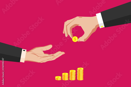 Two hands in business suits, with gold coins, money Wallpaper Mural