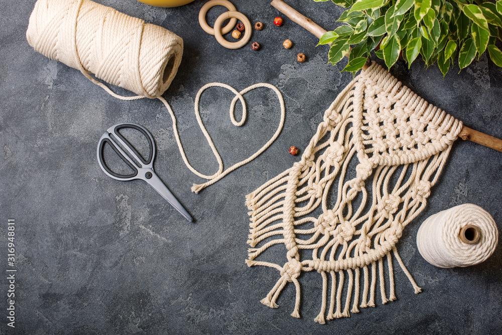 Fototapeta Macrame, handmade macrame for home decoration, creative hobby layout