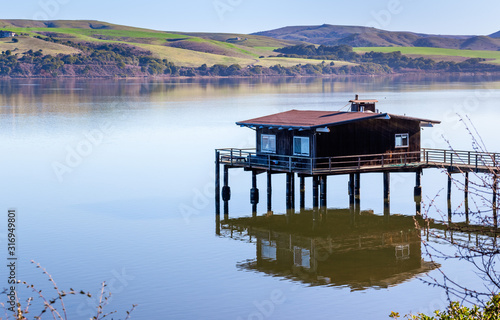 House on stilts on the shoreline of Tomales Bay, North San Francisco Bay Area, C Wallpaper Mural