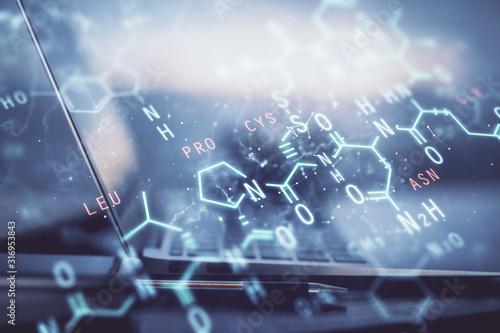 Fotografie, Obraz Desktop computer background and formula hologram writing