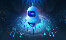 Secure Chat, Chat Bot, Network Communication. Artificial Intelligence In Global Cyberspace 3d Illustration. Secure Decentralized Databases