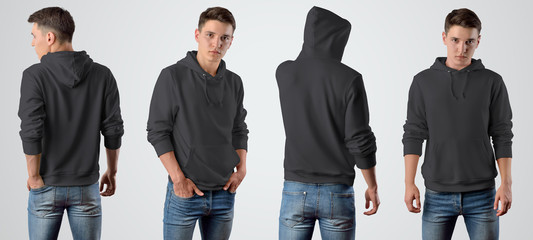 Template of a male blank black hoodie on a young guy for design presentation, set with a front and back pose.