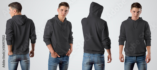 Vászonkép Template of a male blank black hoodie on a young guy for design presentation, set with a front and back pose