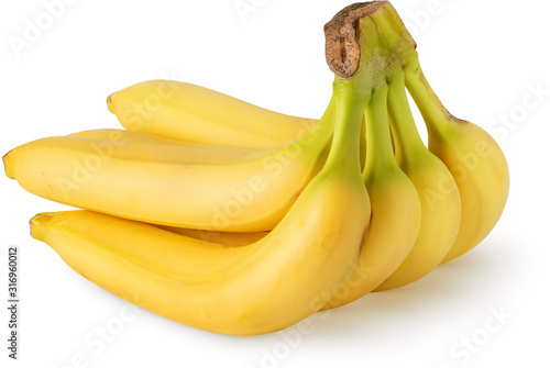 Photo Bunch of six bananas fruits isolated on white background with clipping path