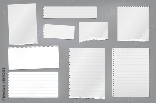 Photographie Torn white blank and lined note, notebook paper strips, pieces and sheeds stuck on dark grey background