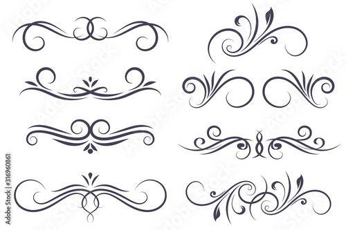 Photo Vintage ornamental dividers. Text typographic decorations