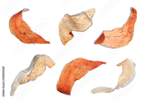 Set of delicious sliced jamon on white background Wallpaper Mural