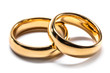 canvas print picture - Gold wedding rings on white