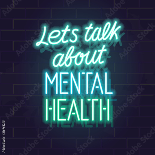 Let's talk about mental health neon typography. Isolated vector glowing handwritten lettering on brick wall background. Square illustration for social network, poster. Wall mural