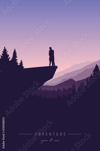 couple in love on a cliff adventure in nature with mountain view vector illustra Canvas Print