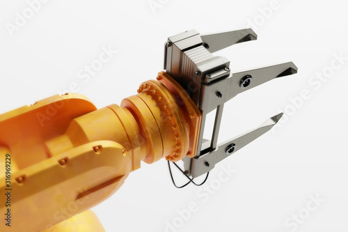 Industrial robotic arm isolated on white. Modern heavy industry, #316969229