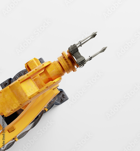 Industrial robotic arm isolated on white. Modern heavy industry, #316969296