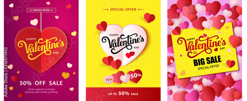 Cuadros en Lienzo Set Design flyer with lettering Happy Valentine s Day