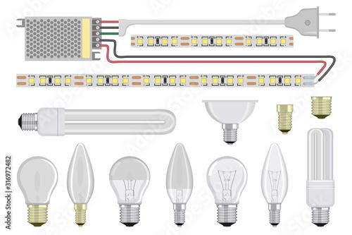 Obraz Set of realistic Light Bulb. Incandescent and fluorescent energy saving light bulbs. Vector 3D light bulbs set. Glowing incandescent filament lamps, electricity. LED Strip Light. LED module. LED diode - fototapety do salonu