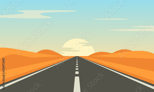 Road in the desert. Asphalt highway with markings in the countryside.