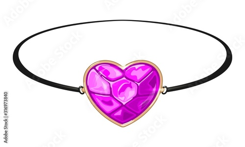 Photo Black circlet, bracelet or armlet with pink heart shape gemstone rose quartz, tourmaline or sapphire in yellow gold