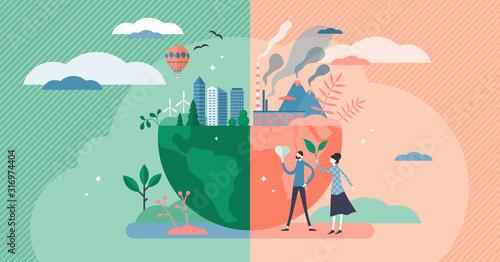 Obraz Environment concept, flat tiny persons couple vector illustration - fototapety do salonu