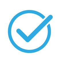 Checkmark On A White Background. Blue Color. Vector