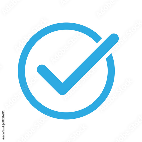 Photo Checkmark on a white background. blue color. vector