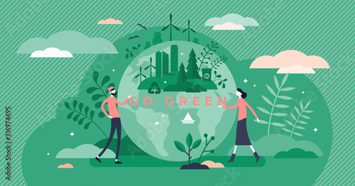Go green call for global sustainable development and healthy planet environment Fotobehang