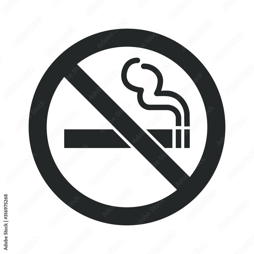 Fototapeta No smoking icon sign. Cigar, tobacco prohibition logo symbol. Vector illustration image. Isolated on white background.