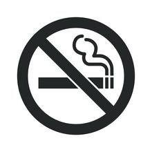 No Smoking Icon Sign. Cigar, T...