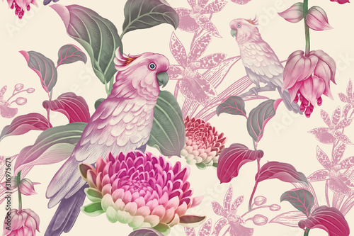 Tropical seamless floral pattern. Exotic birds parrots on branches of tree. Nature illustration Vintage Leaves, flowers and pink cockatoo. Wildlife. For paper, Hawaiian, summer textile, wallpaper
