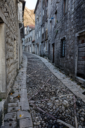Alleys And Narrow Street Of Old Town Perast, Montenegro. Canvas Print