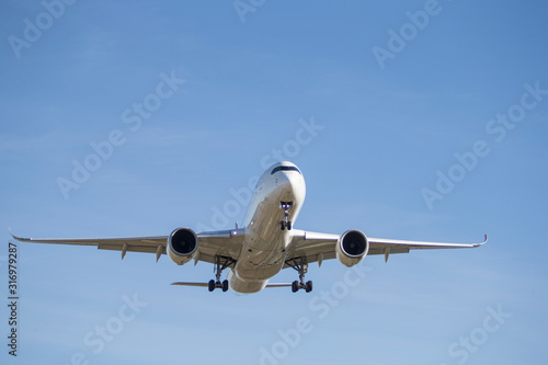 Commercial plane seen from the front with its landing gear open. Wallpaper Mural