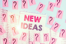 Text Sign Showing New Ideas. Business Photo Showcasing Something Original Or Fresh And More Effective Innovation Scribbled And Crumbling Papers With Thick Cardboard Above Wooden Table