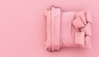 Leinwanddruck Bild - minimal pink bed 3d rendering top view