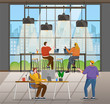 Office with people coworking together. Character doing their job, using devices and laptops. IT specialists and managers of company, team leader giving tasks and making check. Vector illustration